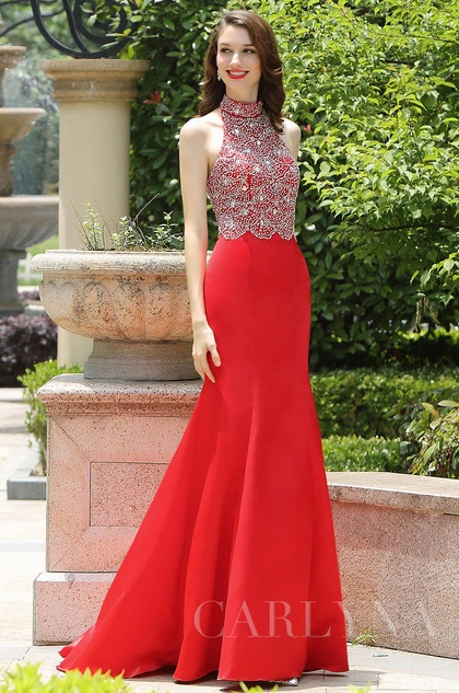 Carlyna Red Halter Neck Beaded Mermaid Prom Formal Dress (E60902)