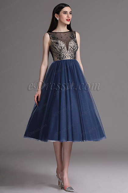 eDressit Blue Embroidery Tea Length Formal Party Dress (04162305)