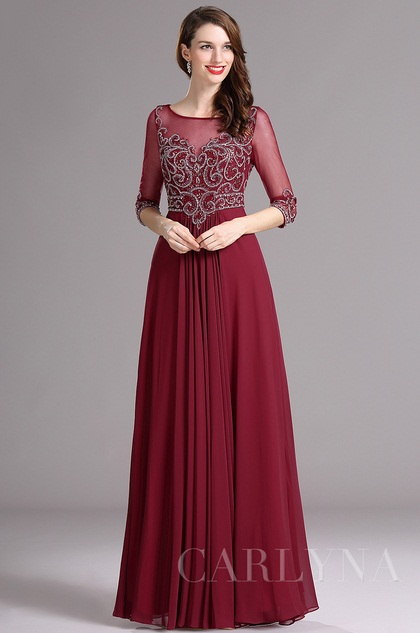 Long Prom Dresses with Elbow Sleeves