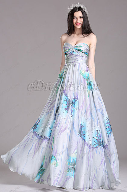 eDressit Printed Strapless Pleated Bridesmaid Dress (X07154432)