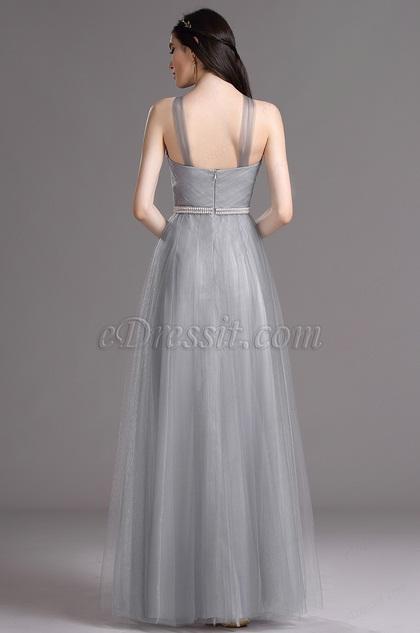 edressit robe de demoiselle d 39 honneur licou grise 07160608. Black Bedroom Furniture Sets. Home Design Ideas