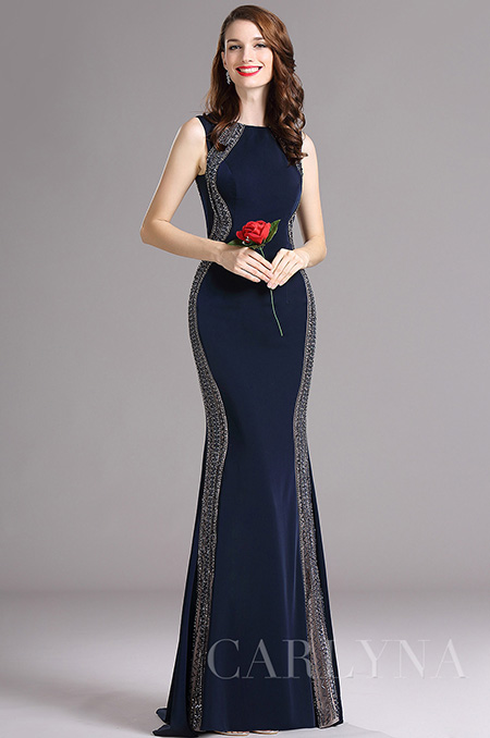 Carlyna Dark Blue Beaded Mermaid Prom Dress (E62105)