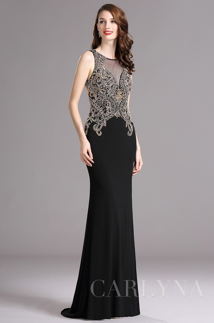 Carlyna Sleeveless Beaded Mermaid Prom Evening Gown (E62800)