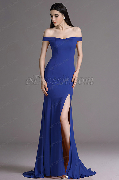 eDressit Royal Blue Off Shoulder High Slit Formal Dress Evening Gown (00163544)