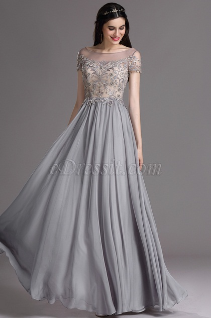 eDressit Grey Short Sleeves Embroidery Beaded Formal Gown (02164908)