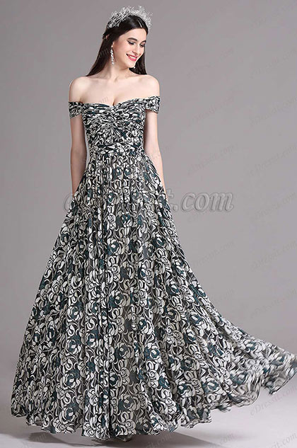 eDressit Off Shoulder Pleated Summer Printed Evening Dress (X07151727)