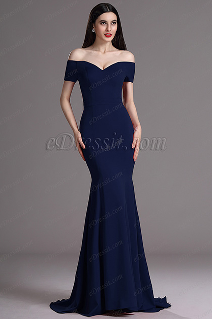 eDressit New Navy Blue Off Shoulder Mermaid Prom Evening Dress (00165205)
