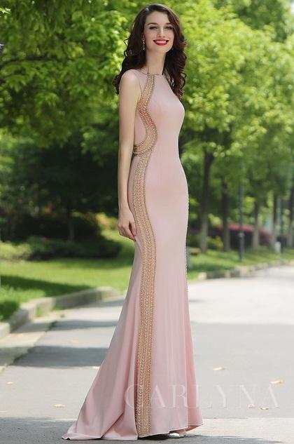 Carlyna  Hellrosa offizielles Meerjungfrau Abendkleid(E62146)