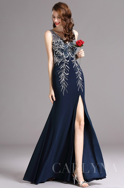 Carlyna V Neck High Slit Dark Blue Prom Evening Ball Dress (E60305)