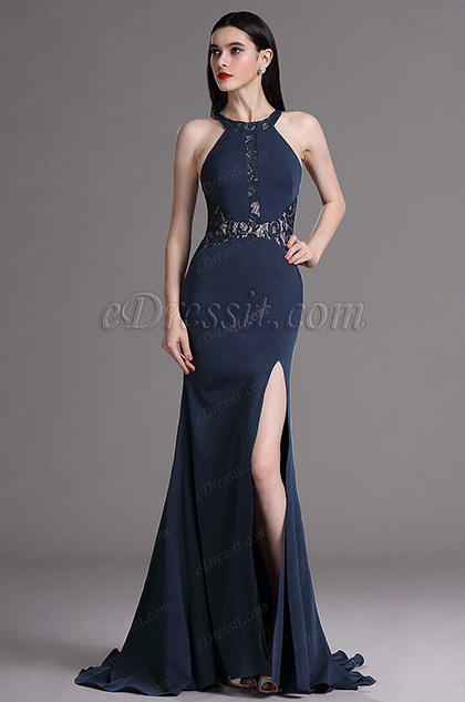 Edressit Dark Blue Halter Lace High Slit Ball Evening