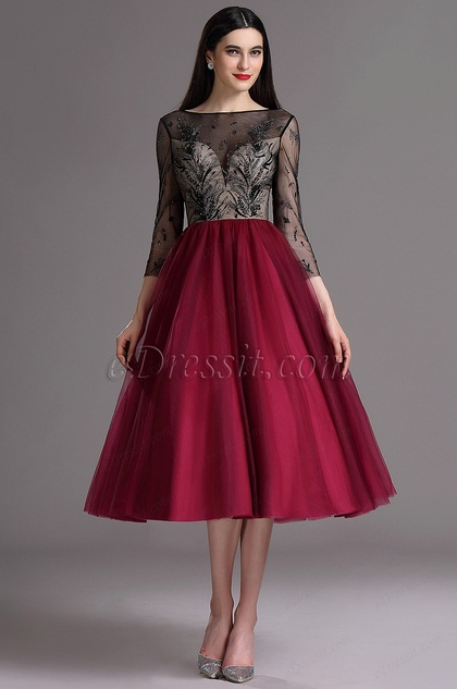 eedcfd19f6 eDressit Burgundy Tea Length Cocktail Evening Dress with Embroidery