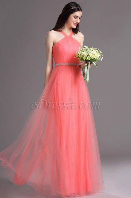 eDressit Coral Halter Neck Ruched Summer Bridesmaid Ball Dress (07160657)