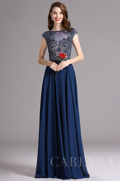 Carlyna Blue Cap Sleeves Illusion Neckline Beaded Prom Dress (E61605)
