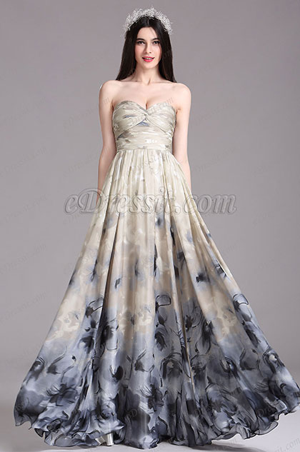 eDressit Printed Strapless Pleated Formal Dress (X07154414)