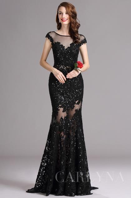 Carlyna Black Illusion Neckline Sequin Lace Appliques