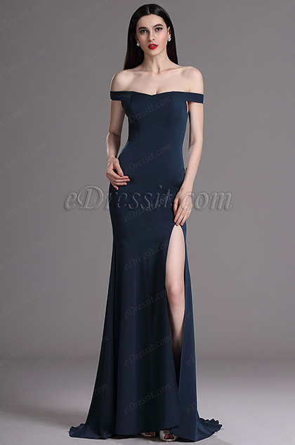 eDressit Blue Off Shoulder High Slit Formal Evening Dress (00163505)