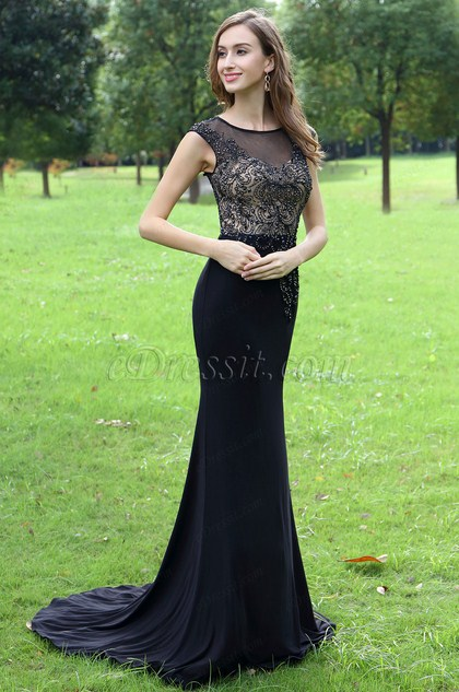 eDressit Black Embroidery and Beaded Mermaid Party Dress (36170600)