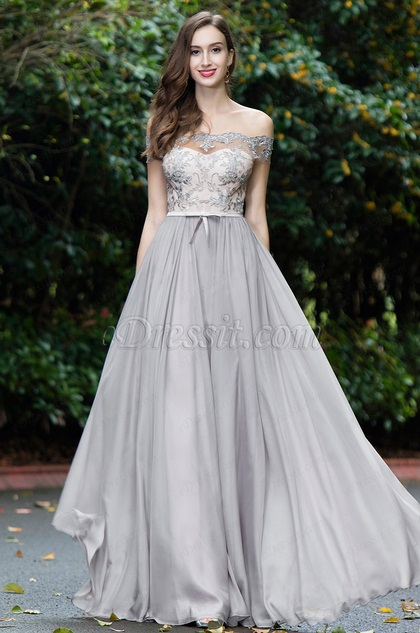 eDressit Grey Off Shoulder Lace Evening Gown (02171908)