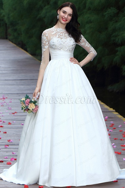 eDressit White Long Sleeves Embroidery Bridal Dress (01170907)