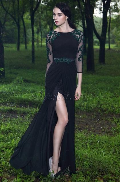 eDressit 3/4 Sleeves Black High Slit Evening Dress (26171100)