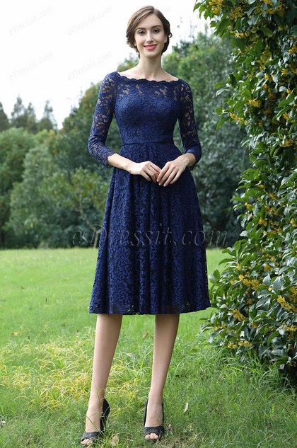 eDressit Long Sleeves Blue Lace Mother of the Bride Dress (26170205)