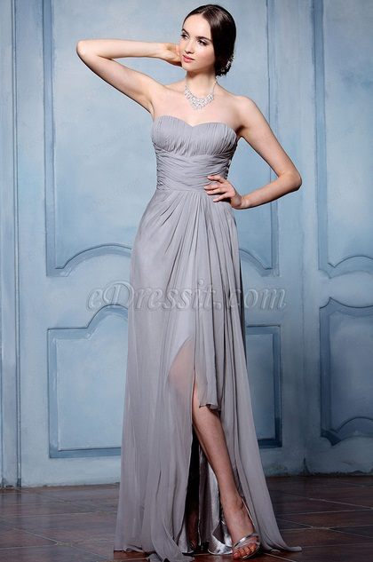 eDressit Strapless Bridesmaid Dress with High Slit (07156032)