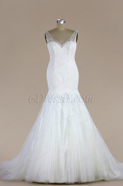 eDressit Sleeveless Lace Mermaid Wedding Dress (F04014781)
