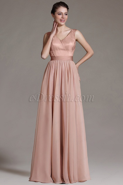 eDressit V-Neck Pleated Bridesmaid Dress Evening Gown (07156146)