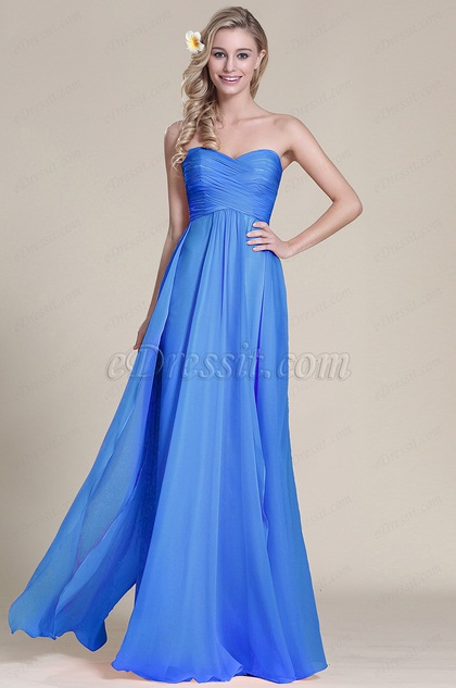 strapless royal blue pleated bridesmaid dress