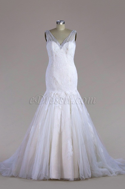 eDressit Sleeveless Lace Mermaid Wedding Dress (F04014781C)