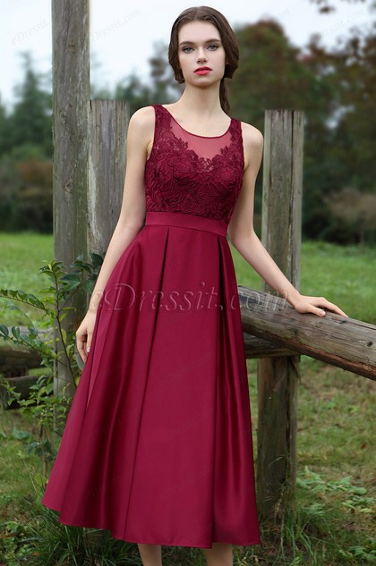 Sleeveless Burgundy Embroidery Party Dress