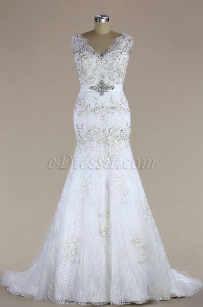 eDressit Sleeveless V Neck Beaded Mermaid Wedding Dress (H04006503)