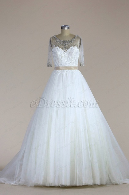 eDressit Half Sleeves Beaded Mermaid Wedding Dress (F04014511)