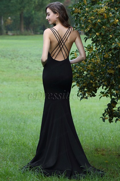 eDressit Black Lace Applique Prom Mermaid Dress (00170200)