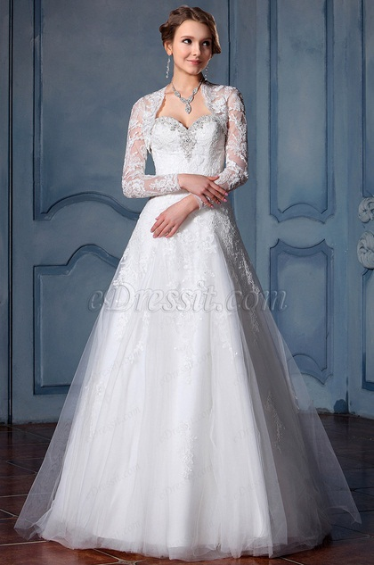 eDressit Long Sleeves Beaded Lace Wedding Dress (F02010015)