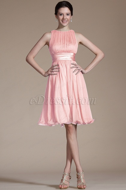 Pink Sleeveless Short Cocktail Dress