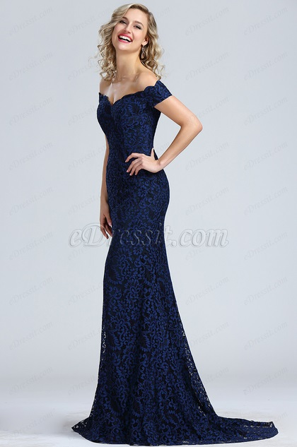 eDressit Blue Off Shoulder Lace Prom Dress (00171905)