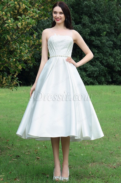 eDressit White Tea-length Party Dress with Lace Appliques (01171407)