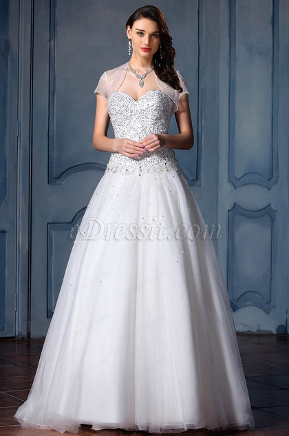 eDressit Sleeveless Sweetheart Beaded Wedding Gown (F02020023)