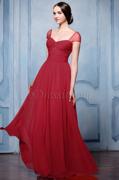 eDressit Cap Sleeves A-line Red Bridesmaid Dress (07154517)