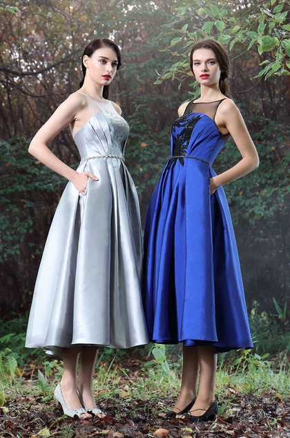 eDressit Blue Tea-length Party Dress with Lace Appliques (04170605)