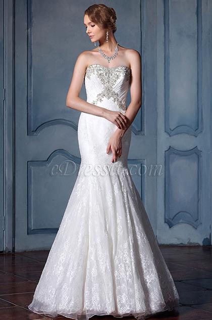 eDressit Strapless Beaded Lace Wedding Dress (F04014137)