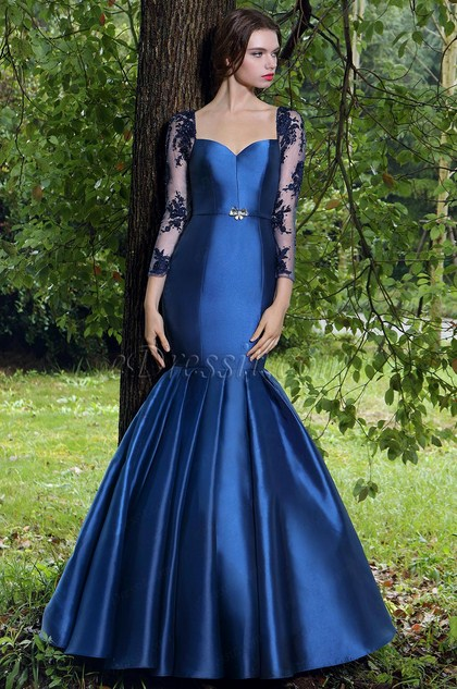 eDressit Elegant  Meerjungfrau-Linie Blau Abendkleid (02170105)