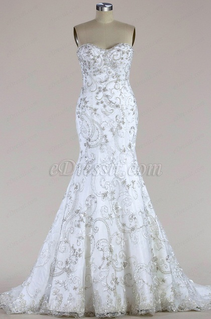 eDressit Strapless Beaded Mermaid Wedding Dress (F09003919)