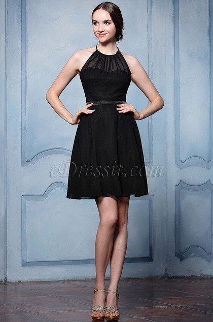 eDressit Blck Halter Cocktail Bridesmaid Dress (07156500)