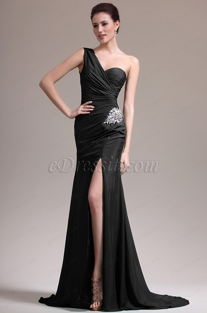 eDressit Black One Shoulder High Slit Evening Dress (07157100)