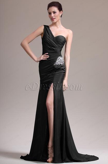 eDressit Black One Shoulder High Slit Evening Dress (07157100)