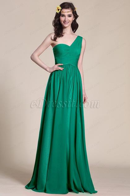 edressit robe demoiselle d 39 honneur une bretelle verte 07151339. Black Bedroom Furniture Sets. Home Design Ideas