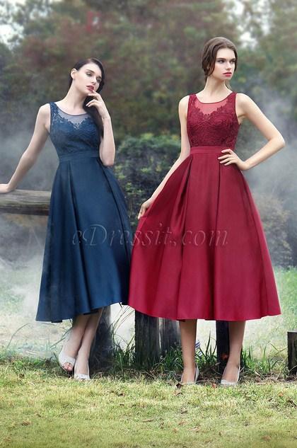 eDressit Illusion Neckline Blue Floral Embroidery Cocktail Dress (35170105)