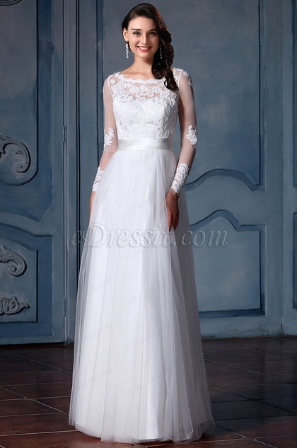 eDressit Long Sleeves Lace Bridal Gown (F09008511)
